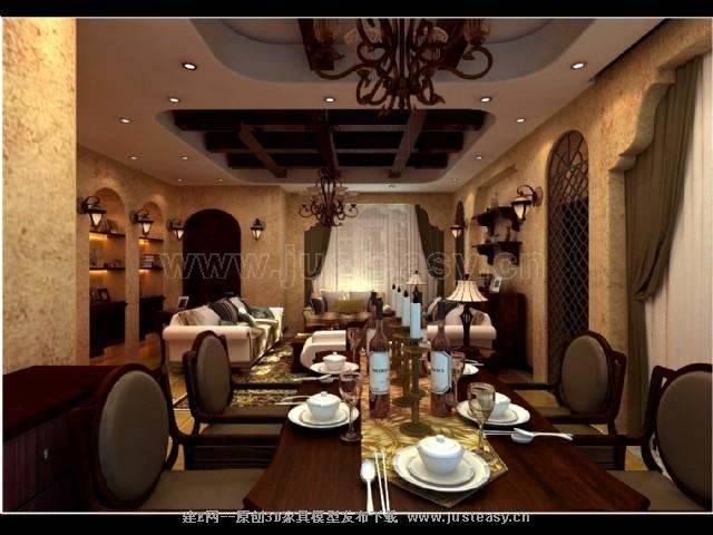 美式乡村别墅客餐厅3d模型下载[id:72375]