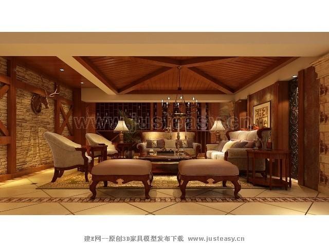 美式别墅地下室酒窖3d模型下载[id:73337]