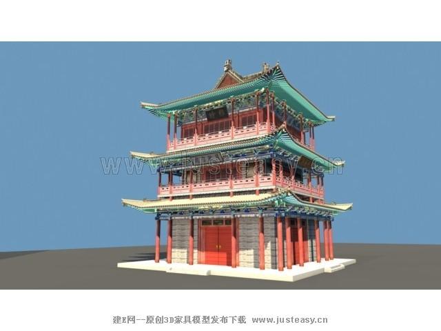 中式古建-鼓楼3d模型下载[id:73375]
