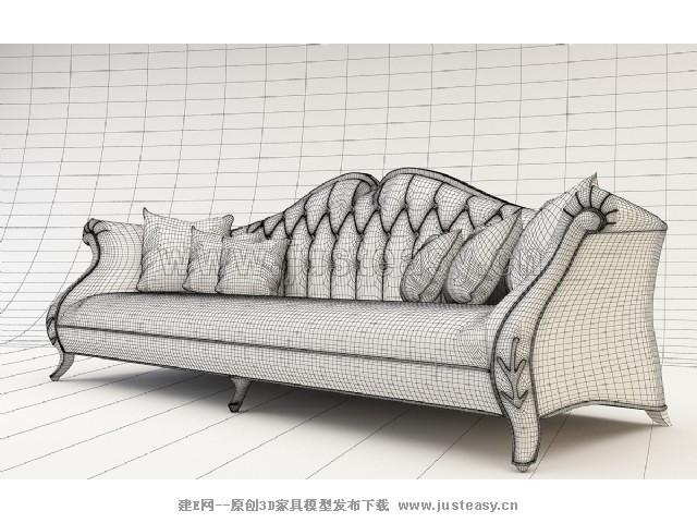 欧式沙发3d模型下载[id:73535]图片