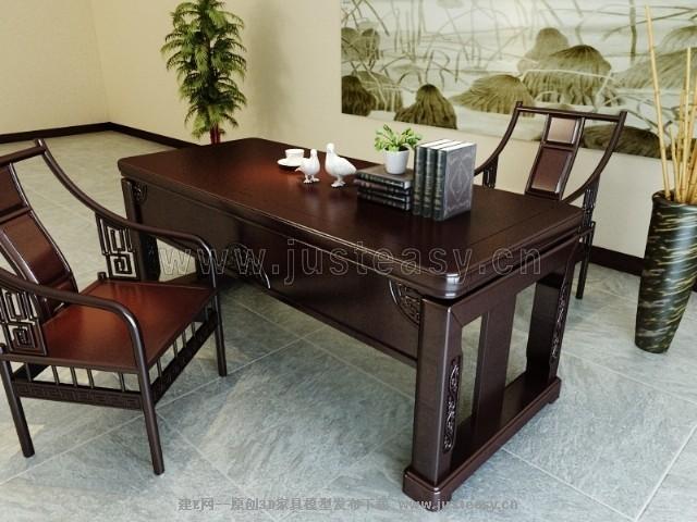 新中式书桌椅3d模型下载[id:73613]