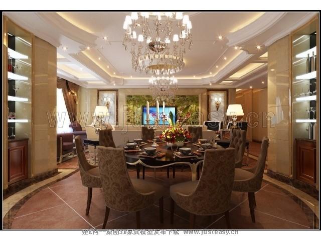 火锅店包房装修设计图-欧式酒店餐厅包间3d模型下载