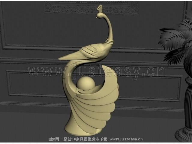 现代孔雀装饰品3d模型下载[id:73877]