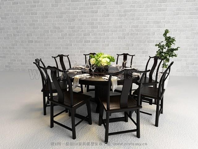 中式餐桌椅3d模型下载[id:73889]