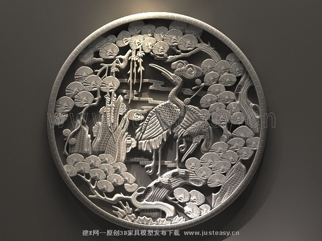 中式松鹤延年花窗木雕3d模型下载[id:74060]