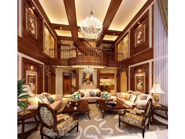 欧式美式别墅客厅3d模型下载[id:74097]