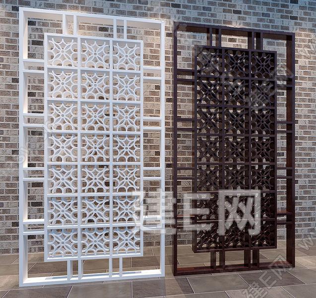 现代中式花格屏风隔断3d模型下载[id:87297]
