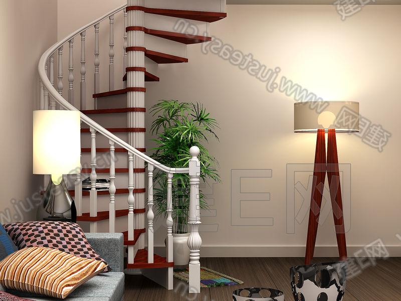 现代欧式旋转楼梯3d模型下载[id:87834]