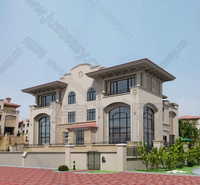 现代欧式国瑞园别墅建筑外观3d模型下载[id:89581]