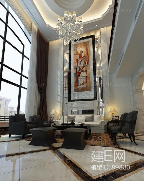 现代简欧别墅客厅门厅玄关3d模型下载[id:89830]