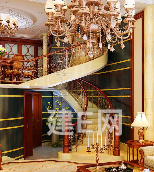 欧式豪华旋转楼梯3d模型下载[id:89855]