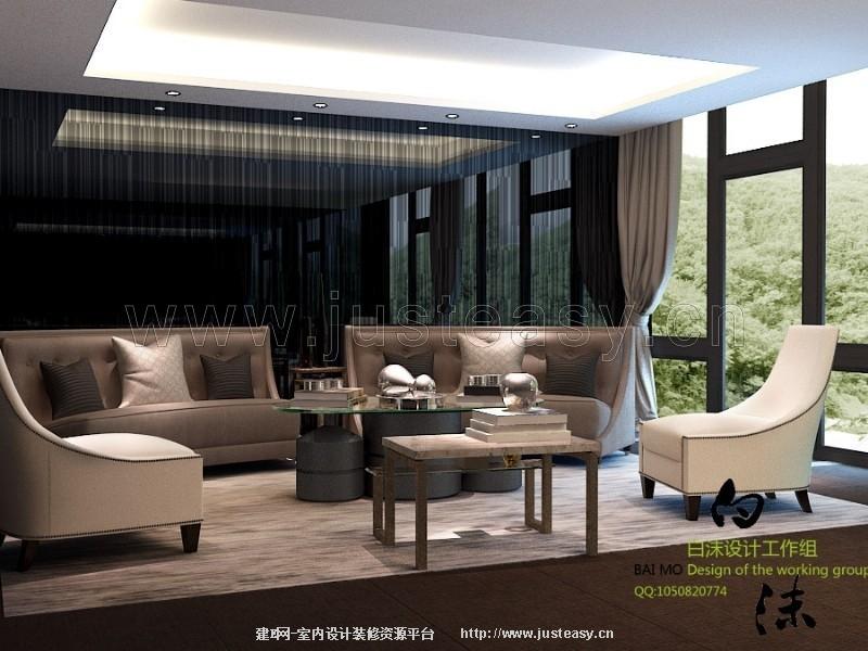 简欧沙发茶几组合3d模型下载[id:77858]