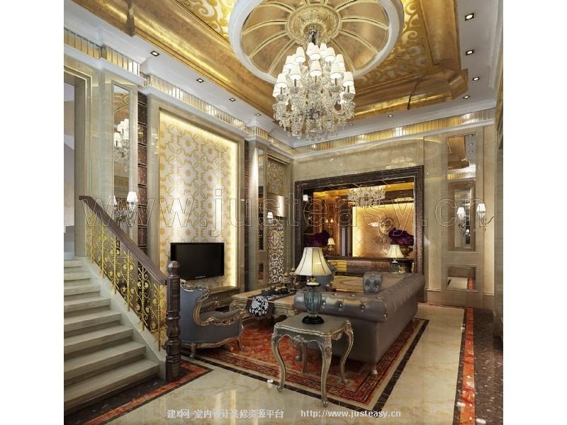 欧式别墅客餐厅过道陶瓷展厅接待大厅3d模型下载[id:3