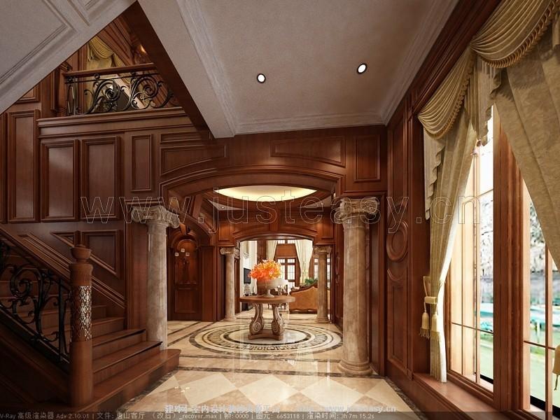 欧式别墅客厅过厅楼梯3d模型下载[id:79436]