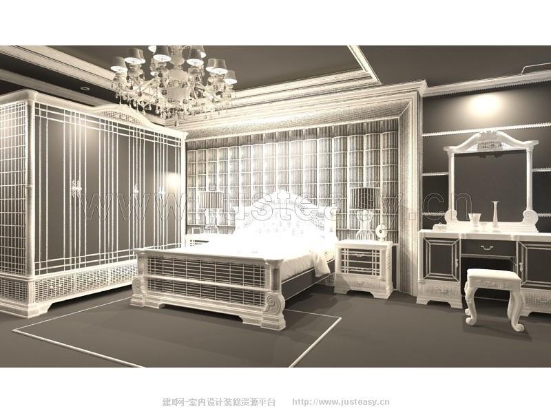 欧式乡村卧室床衣柜床头柜梳妆台3d模型下载[id
