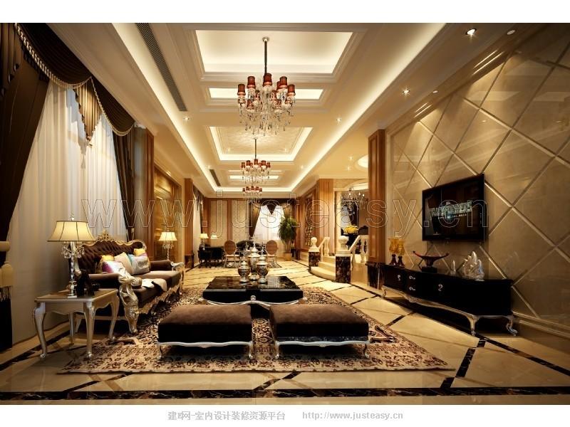 欧式新古典别墅客厅3d模型下载[id:80046]