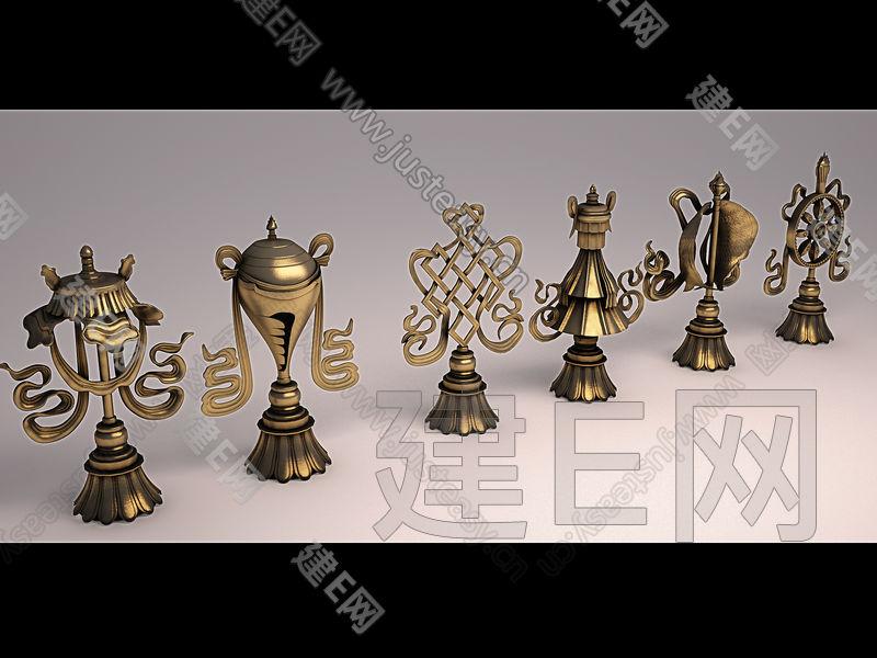 中式西藏吉祥八宝3d模型下载[id:80893]