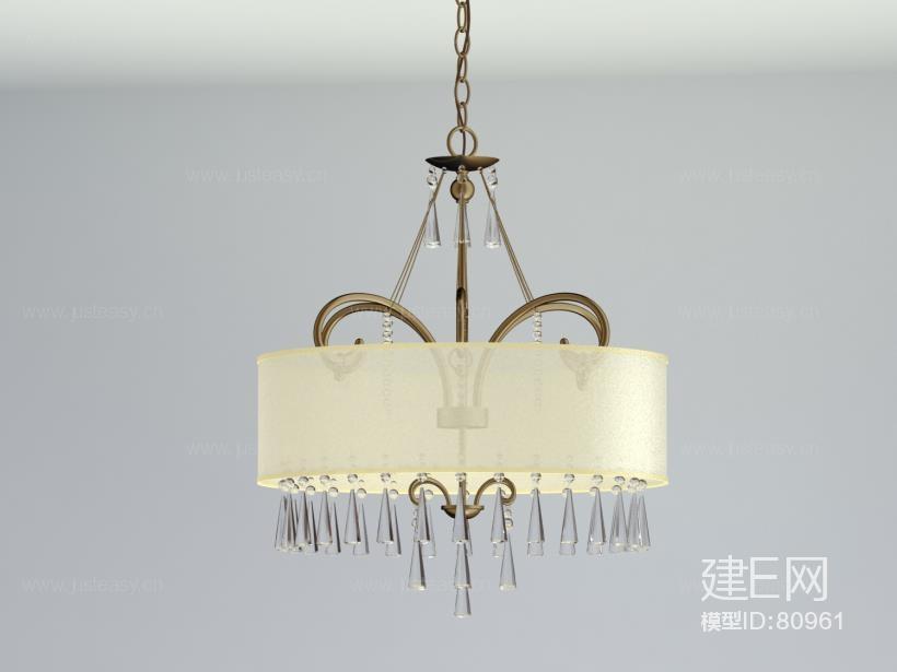 现代欧式铁艺水晶吊灯3d模型下载[id:80961]
