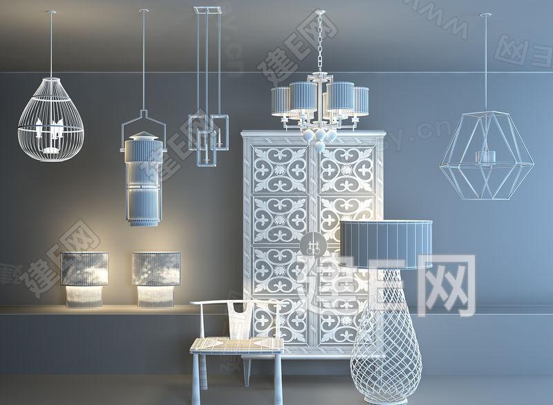 现代新中式灯具组合3d模型下载[id:81260]