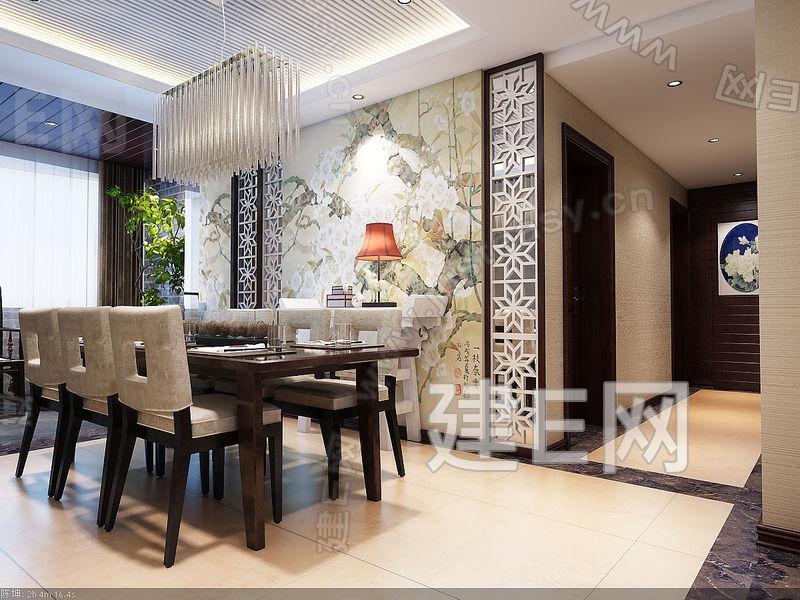 新中式三室二厅二卫装修案例效果图 135平米设计