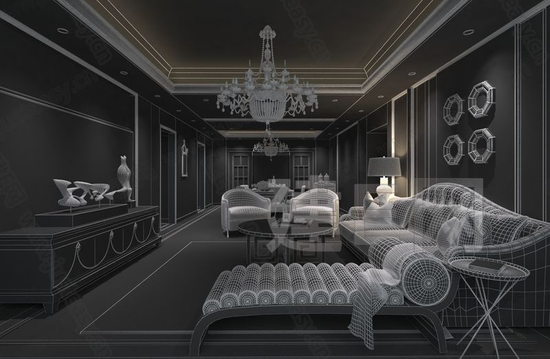 现代中欧式混搭客餐厅沙发组合3d模型下载[id:82492]