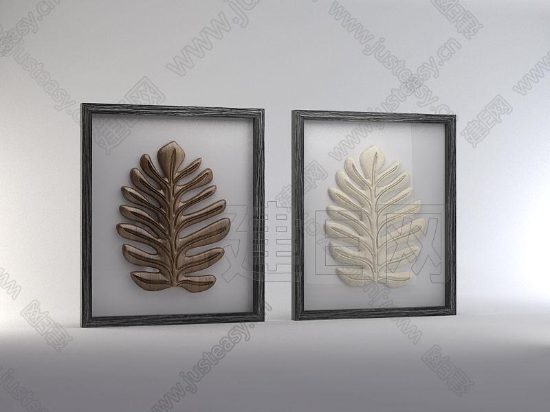 现代立体木雕树叶装饰画框3d模型下载[id:82752]