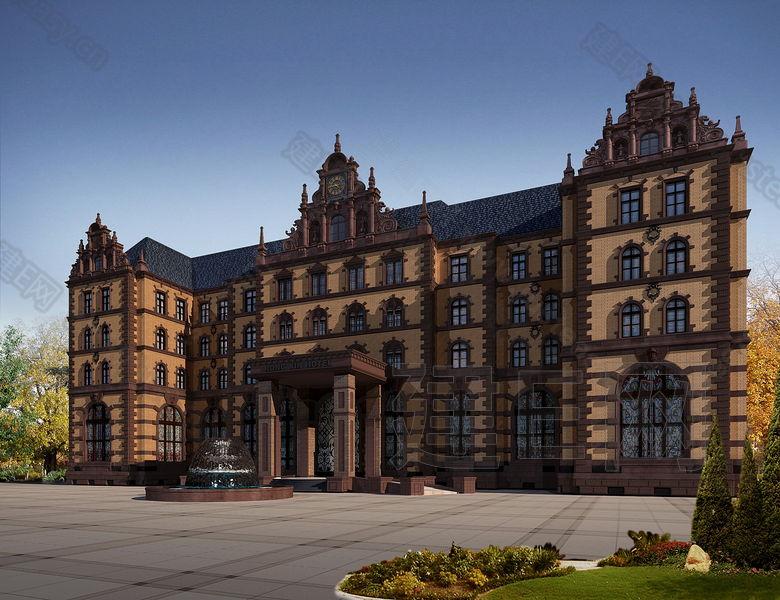 欧式酒店外立面3d模型下载[id:82940]图片