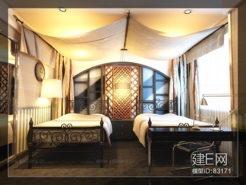 东南亚欧式混搭客房标准间 室内设计整体方