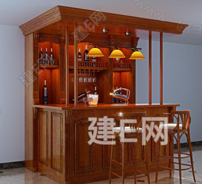 欧式原木酒柜吧台吧椅组合3d模型下载[id:86040]