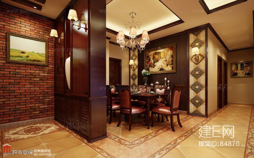 古典欧式客餐厅3d模型下载[id:84876]