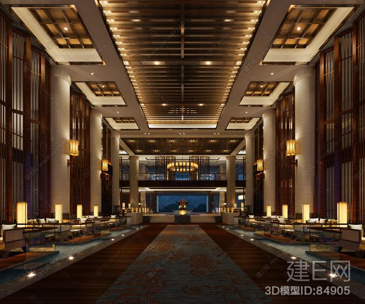 新中式会所酒店大堂大厅[模型id:84905]图片