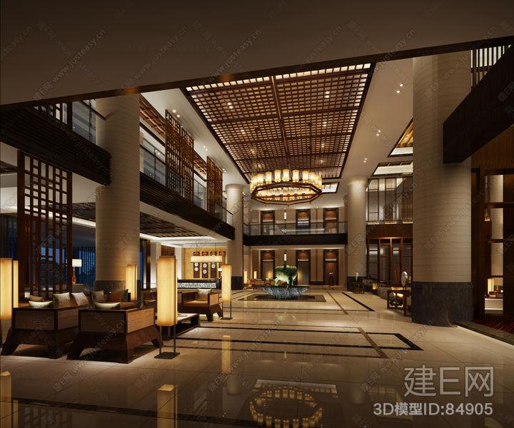 中式餐厅大堂-上海装潢网   新中式会所酒店大堂大厅3d模型高清图片