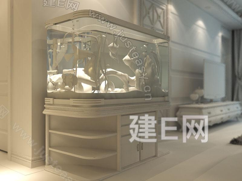 现代纯模型客厅鱼缸3d模型下载[id:85248]