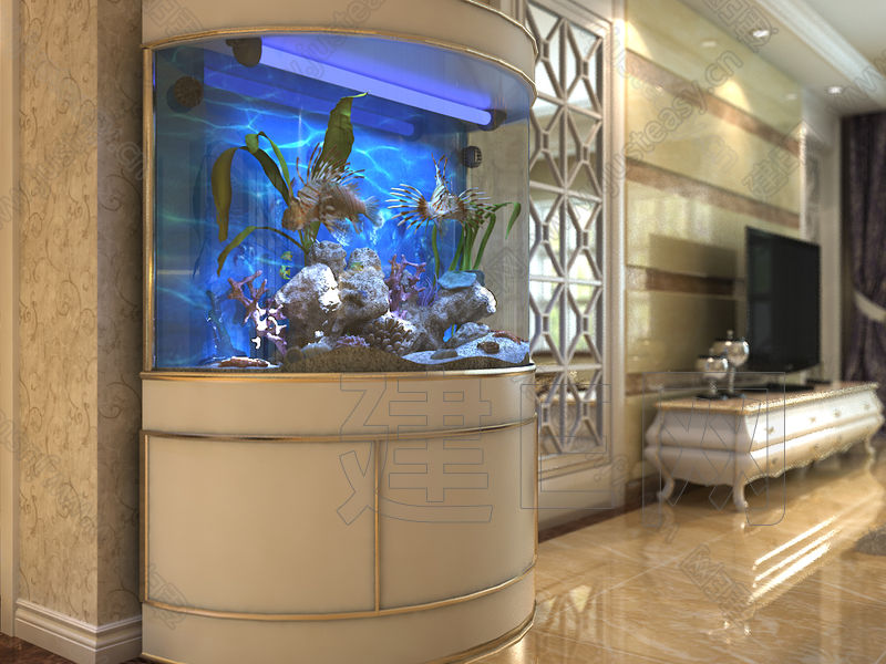 现代客厅纯模型半圆鱼缸3d模型下载[id:86039]