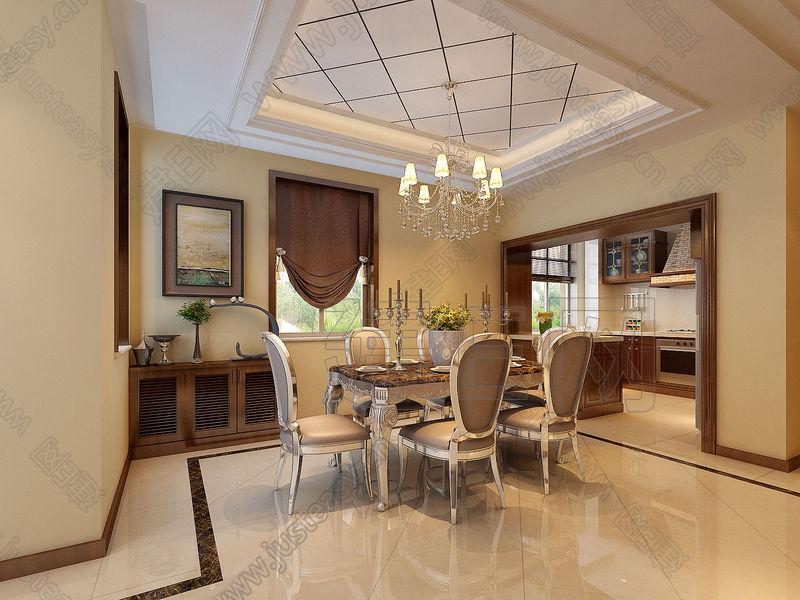 后现代欧式混搭别墅客餐厅厨房3d模型下载[id:85742]