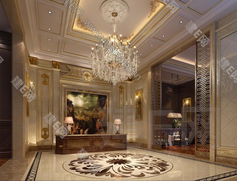 法式欧式酒店餐厅接待大厅门厅3d模型下载[id:87918]