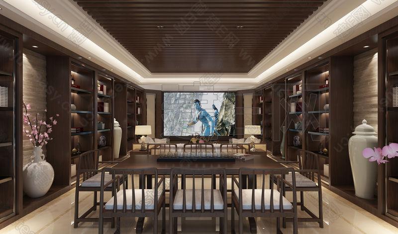 新中式影视厅3d模型下载 中式背景墙装修效果图,紫云轩中式