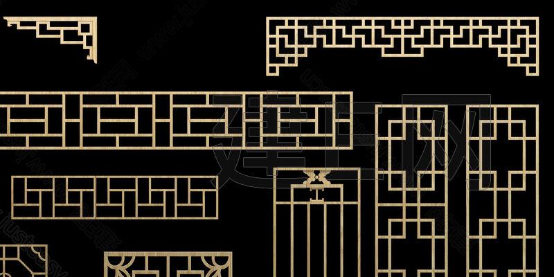 中式木花格3d模型下载[id:104589]