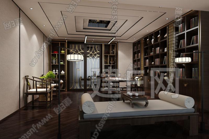 新中式书房3d模型下载[id:105397]
