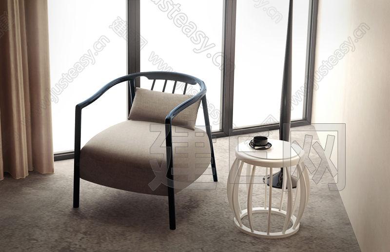 现代休闲经典单人沙发茶几组合3d模型下载[id:107115