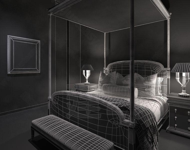美式卧室床具床头柜床尾榻组合3d模型下载