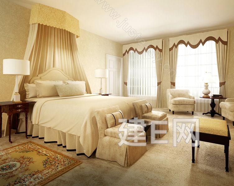 美式卧室床具床头柜床尾榻沙发椅子组合3d模型下载
