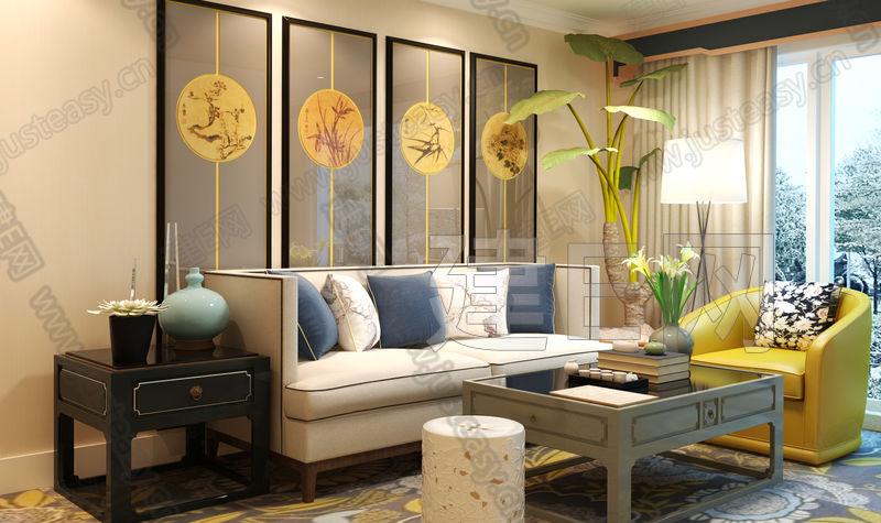 戴昆新中式客厅沙发茶几组合