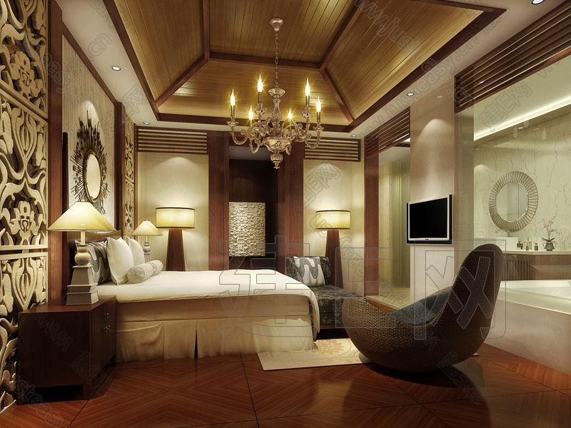东南亚巴厘岛酒店客房卧室