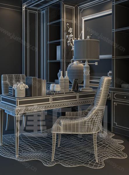 vr材质有贴图 新中式书房桌椅组合 桌椅 椅子 3d模型下载