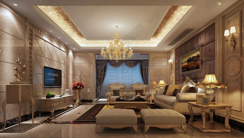 欧式奢华客厅沙发组合3d模型下载[id:92234]