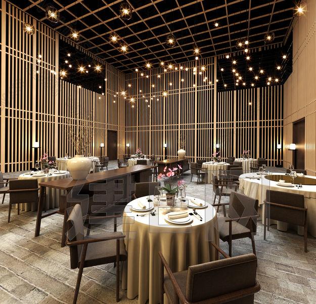 现代新中式餐厅餐桌椅组合