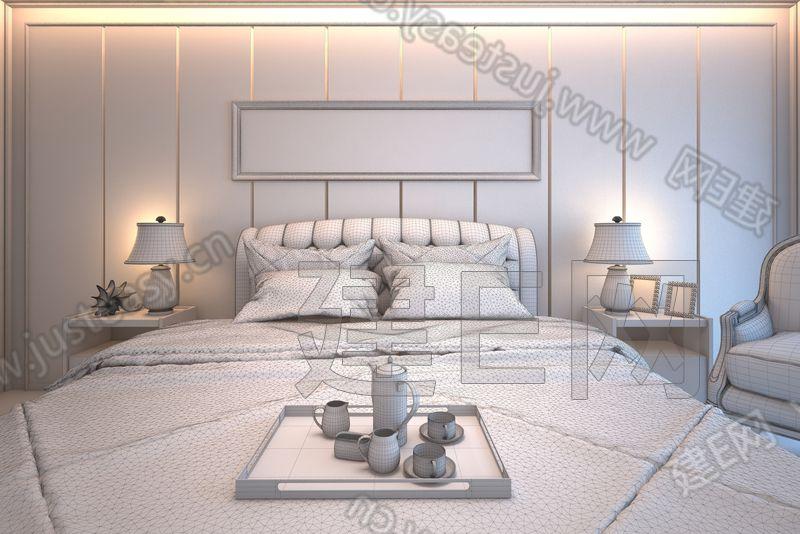 欧式卧室双人床具床头柜组合3d模型下载[id:92885]