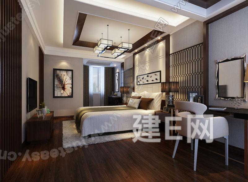 现代新中式卧室床具休闲椅组合3d模型下载[id:94354]