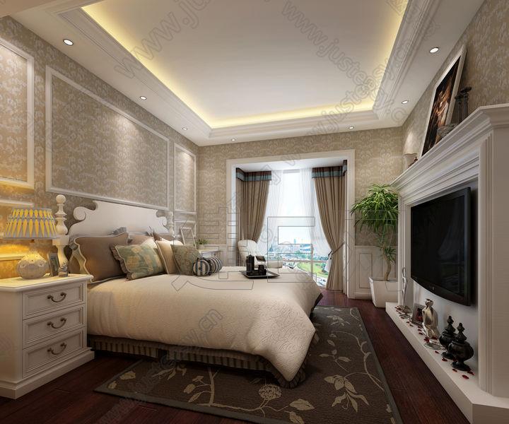 欧式卧室床具躺椅组合3d模型下载[id:94511]